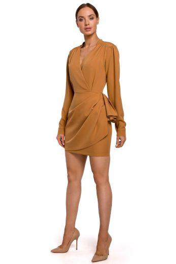 Elegantní zavinovací šaty MOE M531 skořicové