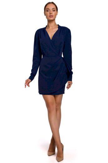 Elegantní zavinovací šaty MOE M531 modré
