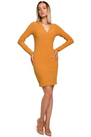 Elegantní úpletové šaty MOE M525 žluté