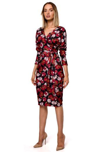Elegantní zavinovací šaty MOE M524 květované model 1