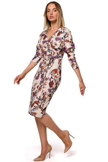 Elegantní zavinovací šaty MOE M524 květované model 2