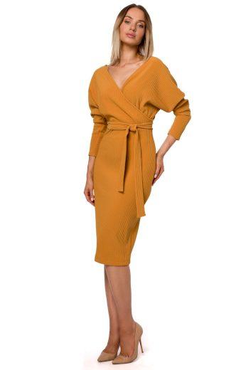 Elegantní úpletové šaty MOE M523 žluté