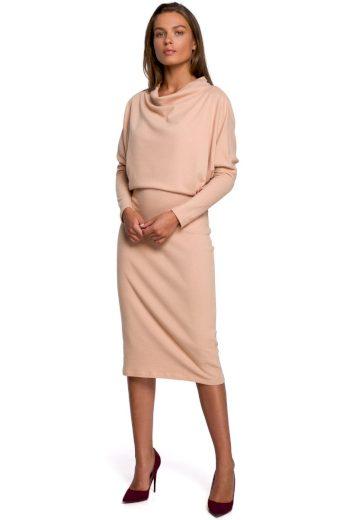 Elegantní šaty Style S245 béžové