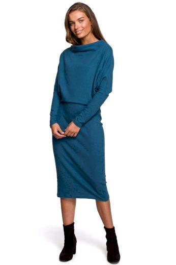 Elegantní šaty Style S245 zelenomodré