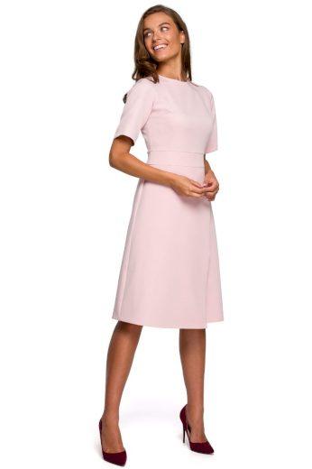 Klasické elegantní šaty Style S240 pudrové