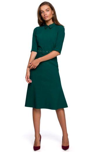 Elegantní šaty s límečkem Style S231 zelené