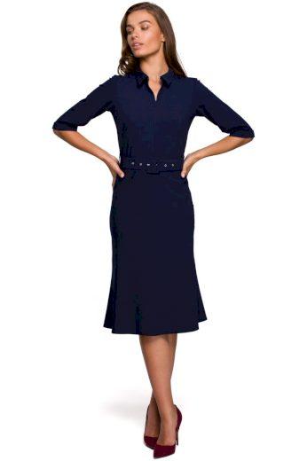 Elegantní šaty s límečkem Style S231 modré