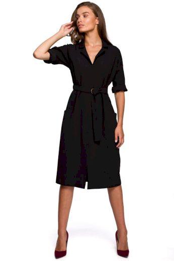 Elegantní košilové šaty Style S230 černé