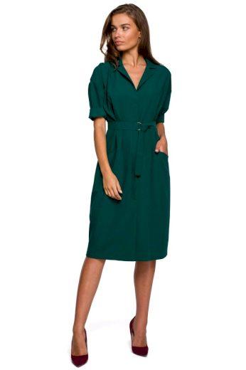 Elegantní košilové šaty Style S230 zelené