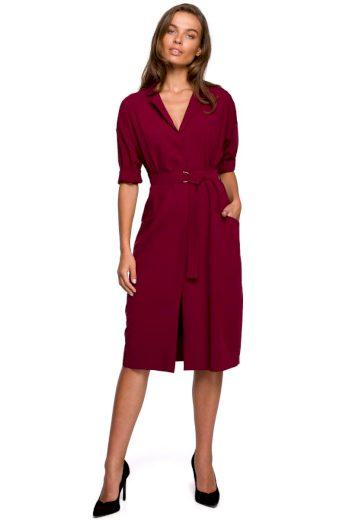 Elegantní košilové šaty Style S230 bordó