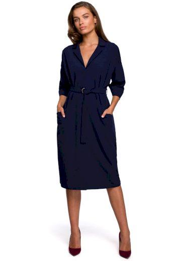 Elegantní košilové šaty Style S230 modré