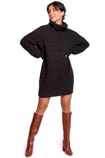 Dlouhý svetr s rolákem Be BK030 černý
