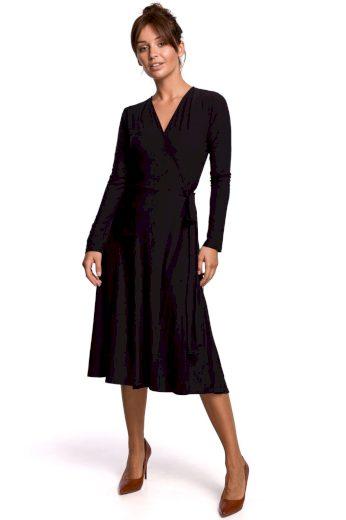 Elegantní zavinovací šaty Be B184 černé