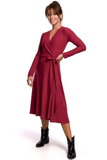 Elegantní zavinovací šaty Be B184 bordó