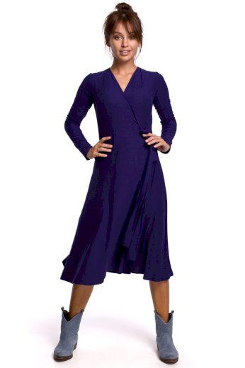 Elegantní zavinovací šaty Be B184 modré