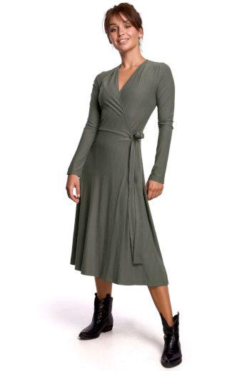 Elegantní zavinovací šaty Be B184 khaki