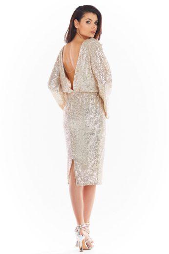 Společenské šaty s flitry Awama A402 béžové