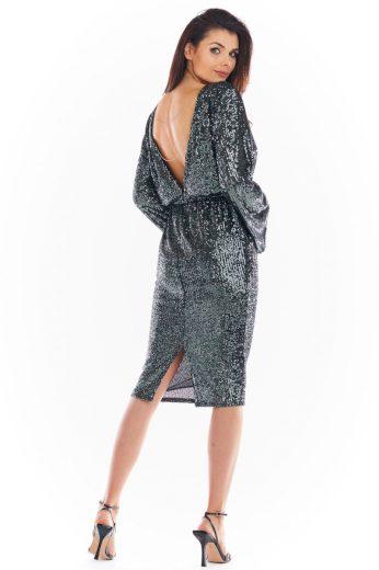 Společenské šaty s flitry Awama A402 šedé