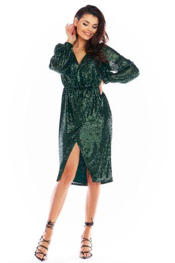 Společenské šaty s flitry Awama A399 zelené