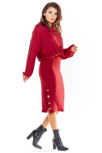 Pletená sukně Awama A317 bordó