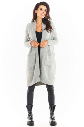 Pletený kabátek Awama A395 šedý