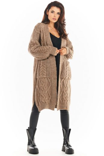 Pletený kabátek Awama A393 béžový