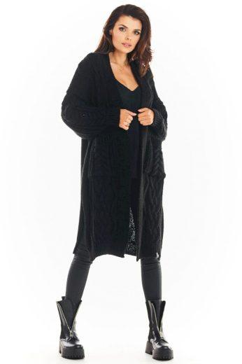 Pletený kabátek Awama A393 černý