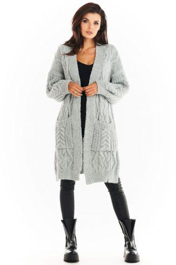 Pletený kabátek Awama A393 šedý