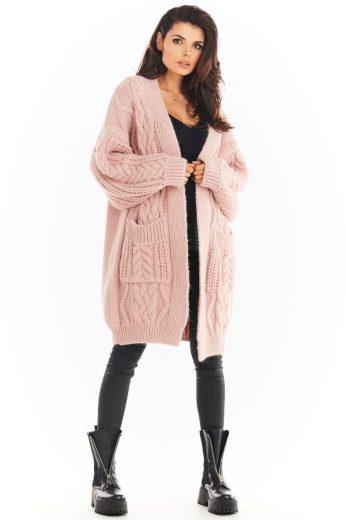 Pletený kabátek Awama A393 růžový