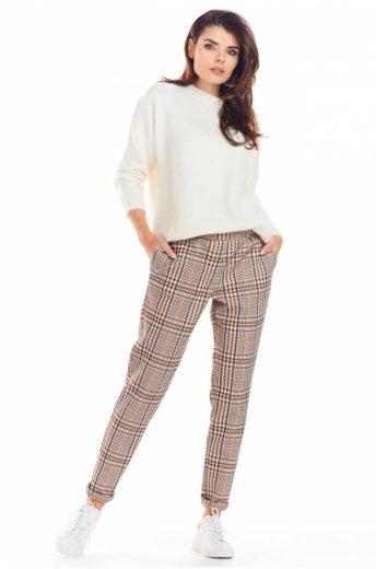 Elegantní kostkované kalhoty Awama A365 hnědé