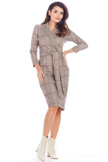 Elegantní sakové kostkované šaty Awama A362 hnědé