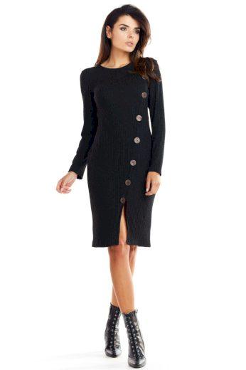 Elegantní pletené šaty Awama A342 černé