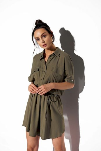Lehounké košilové šaty Lemoniade L338 khaki