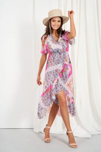 Šifonové delší šaty s hedvábím Lemoniade LG523 vzor16