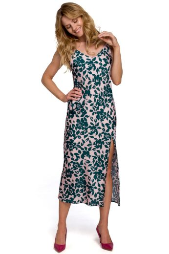 Květované šaty na ramínka Makover K085 vzor 3