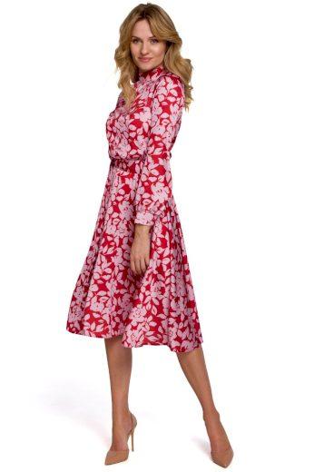 Květované šaty s výstřihem na zádech Makover K084 vzor 1