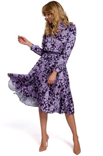 Květované šaty s výstřihem na zádech Makover K084 vzor 2