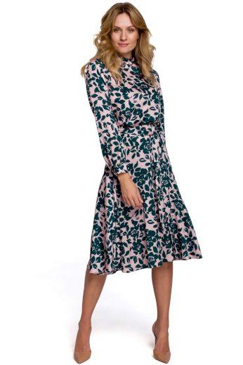 Květované šaty s výstřihem na zádech Makover K084 vzor 3