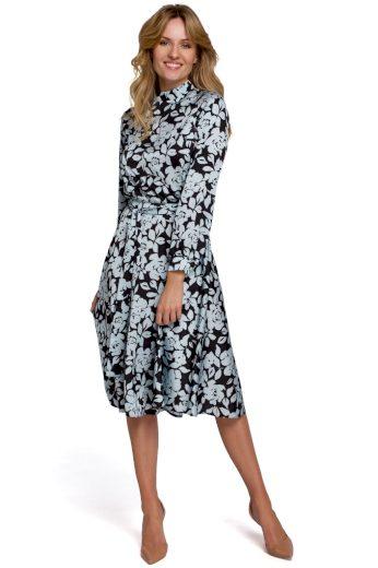 Květované šaty s výstřihem na zádech Makover K084 vzor 4