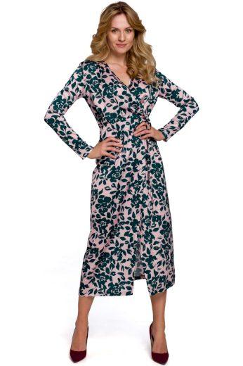 Zavinovací květované šaty Makover K083 vzor 3