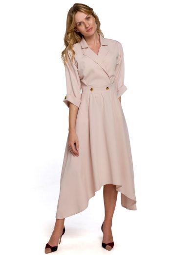 Elegantní šaty s asymetrickou sukní Makover K086 béžové