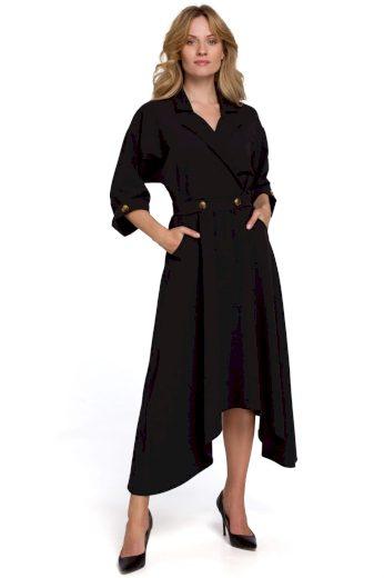Elegantní šaty s asymetrickou sukní Makover K086 černé
