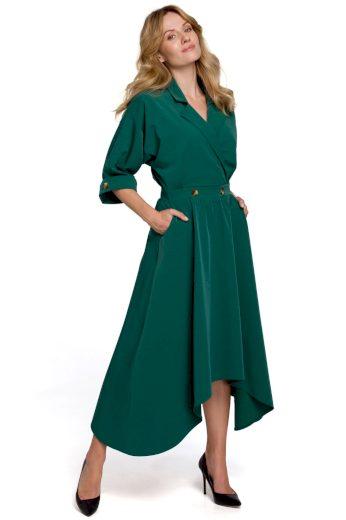 Elegantní šaty s asymetrickou sukní Makover K086 zelené