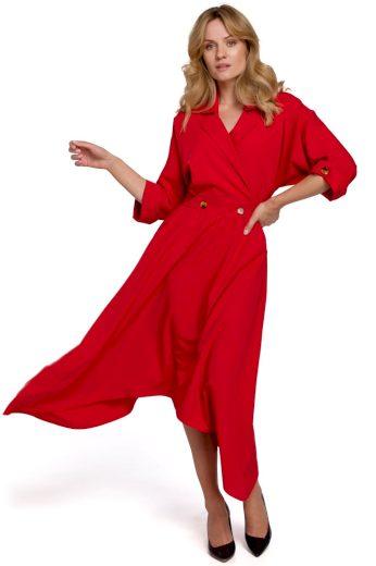 Elegantní šaty s asymetrickou sukní Makover K086 červené