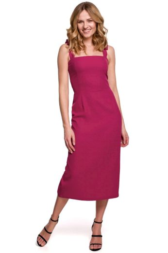Pouzdrové šaty na ramínka Makover K046 švestkové