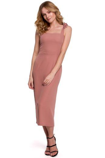 Pouzdrové šaty na ramínka Makover K046 růžové