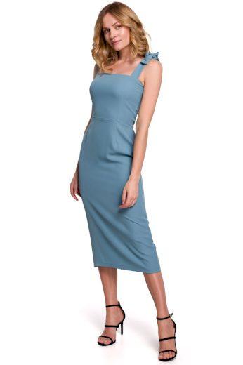 Pouzdrové šaty na ramínka Makover K046 modré
