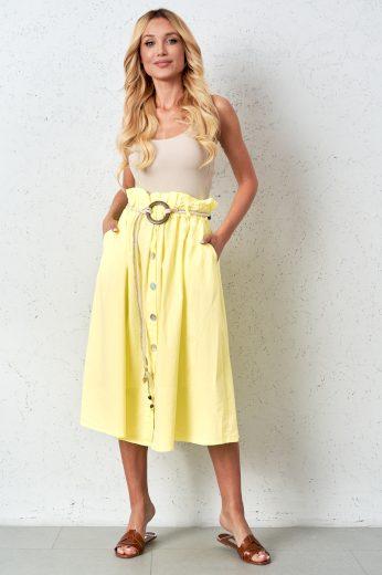 Žlutá bavlněná propínací sukně