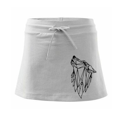 Geometrie - vlk - vyjící - Sportovní sukně - two in one