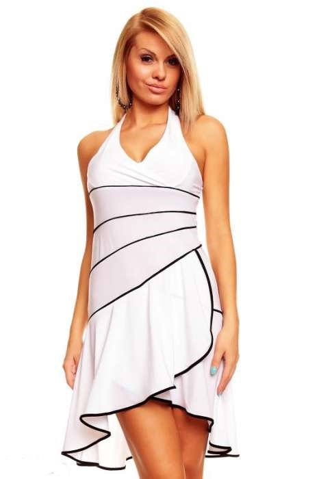 A Mayaadi bílé šaty s volánky 5021